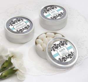 PERSONALIZED Wedding Round Candy Tins - Silver (Printed Label) (Always & Forever)
