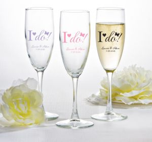 PERSONALIZED Wedding Champagne Flutes (Printed Glass) (Pink, I Do)