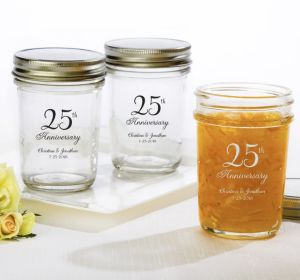 PERSONALIZED Wedding Mason Jars with Solid Lids (Printed Glass) (Silver, 25th Anniversary)