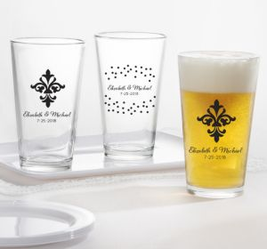 PERSONALIZED Wedding Pint Glasses (Printed Glass) (Black, We're Engaged Crowns)