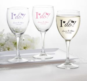 PERSONALIZED Wedding Wine Glasses (Printed Glass) (Pink, I Do)