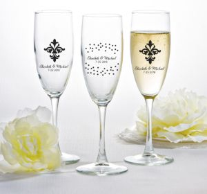 PERSONALIZED Wedding Champagne Flutes (Printed Glass) (Black, Damask & Dots)