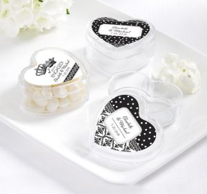 PERSONALIZED Wedding Heart-Shaped Plastic Favor Boxes (Printed Label) (Damask & Dots)