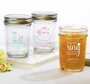 PERSONALIZED Wedding Mason Jars with Solid Lids (Printed Glass) (Black, I Do Woo Hoo)