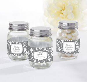 PERSONALIZED Wedding Mini Glass Mason Jars (Printed Label) (25th Anniversary)