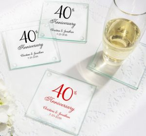PERSONALIZED Wedding Glass Coasters, Set of 12 (Printed Glass) (40th Anniversary Elegant Scroll)