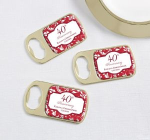 PERSONALIZED Wedding Bottle Openers - Gold (Printed Epoxy Label) (40th Anniversary)