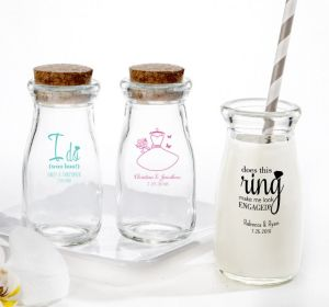 PERSONALIZED Wedding Glass Milk Bottles with Corks (Printed Glass) (Robin's Egg Blue, Ring Engaged)