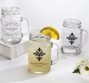 PERSONALIZED Wedding Mason Jar Mugs (Printed Glass) (White, We're Engaged Crowns)