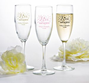 PERSONALIZED Wedding Champagne Flutes (Printed Glass) (Pink, Sparkling Pink Wedding)