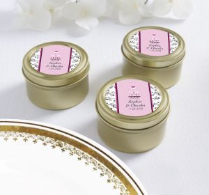 PERSONALIZED Wedding Round Candy Tins - Gold (Printed Label) (Sweet Wedding Cake)