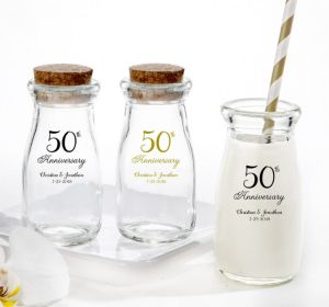 PERSONALIZED Wedding Glass Milk Bottles with Corks (Printed Glass) (50th Anniversary Elegant Scroll)