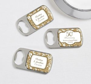 PERSONALIZED Wedding Bottle Openers - Silver (Printed Epoxy Label) (50th Anniversary)