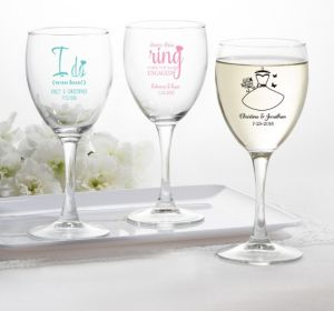 PERSONALIZED Wedding Wine Glasses (Printed Glass) (White, I Do Woo Hoo)