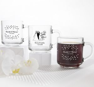 PERSONALIZED Wedding Glass Coffee Mugs (Printed Glass) (White, Happily Ever After)