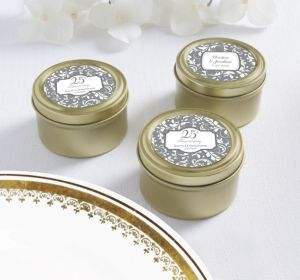 PERSONALIZED Wedding Round Candy Tins - Gold (Printed Label) (Gold Silver Elegant Scroll)