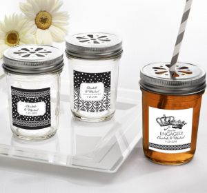 PERSONALIZED Wedding Mason Jars with Daisy Lids (Printed Label) (We're Engaged Crowns)