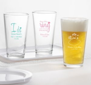 PERSONALIZED Wedding Pint Glasses (Printed Glass) (Robin's Egg Blue, Ring Engaged)