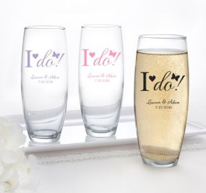 PERSONALIZED Wedding Stemless Champagne Flutes (Printed Glass) (White, I Do)