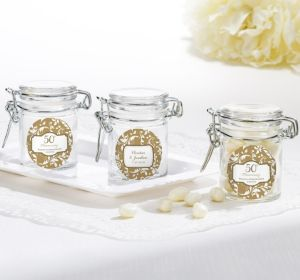 PERSONALIZED Wedding Small Glass Jars (Printed Label) (Gold Elegant Scroll)