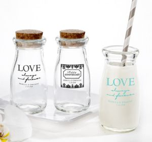 PERSONALIZED Wedding Glass Milk Bottles with Corks (Printed Glass) (White, Always & Forever Happy Anniversary)