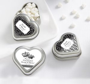 PERSONALIZED Wedding Heart-Shaped Mint Tins with Candy (Printed Label) (Damask & Dots Engagement)
