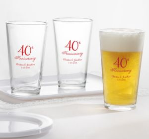 PERSONALIZED Wedding Pint Glasses (Printed Glass) (40th Anniversary Elegant Scroll)