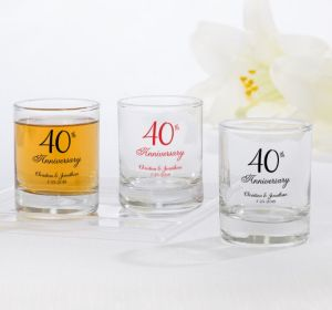 PERSONALIZED Wedding Shot Glasses (Printed Glass) (40th Anniversary Elegant Scroll)