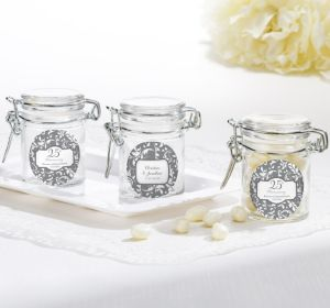 PERSONALIZED Wedding Small Glass Jars (Printed Label) (Silver Elegant Scroll)