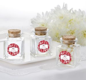 PERSONALIZED Wedding Small Glass Bottles with Corks (Printed Label) (40th Anniversary)