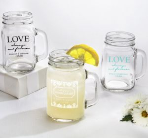 PERSONALIZED Wedding Mason Jar Mugs (Printed Glass) (White, Always & Forever Love)