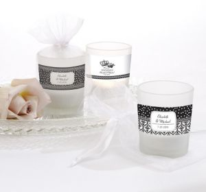 PERSONALIZED Wedding Glass Votive Candle Holders (Printed Label) (Damask & Dots Engagement)