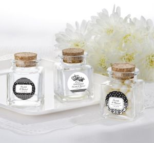 PERSONALIZED Wedding Small Glass Bottles with Corks (Printed Label) (Damask & Dots)