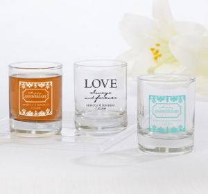 PERSONALIZED Wedding Shot Glasses (Printed Glass) (White, Always & Forever Happy Anniversary)