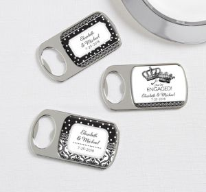 PERSONALIZED Wedding Bottle Openers - Silver (Printed Epoxy Label) (We're Engaged Crowns)