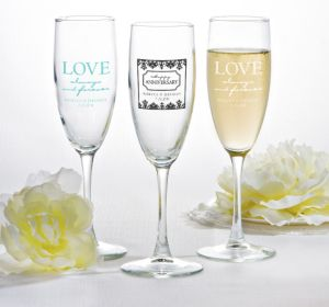 PERSONALIZED Wedding Champagne Flutes (Printed Glass) ( Black, Always & Forever Love)