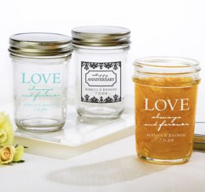 PERSONALIZED Wedding Mason Jars with Solid Lids (Printed Glass) (White, Always & Forever Phrase)