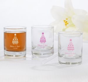 PERSONALIZED Wedding Shot Glasses (Printed Glass) (Pink, Sweet Wedding Cake)