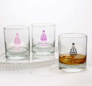 PERSONALIZED Wedding Rocks Glasses (Printed Glass) (White, Sweet Wedding Cake)