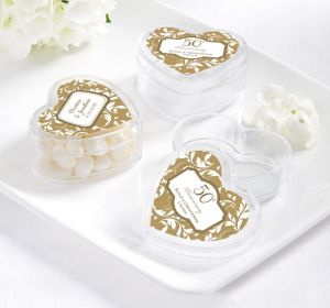 PERSONALIZED Wedding Heart-Shaped Plastic Favor Boxes (Printed Label) (Gold Elegant Scroll)