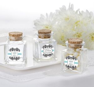 PERSONALIZED Wedding Small Glass Bottles with Corks (Printed Label) (Always & Forever)