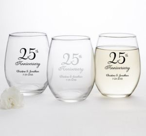 PERSONALIZED Wedding Stemless Wine Glasses 15oz (Printed Glass) (Silver, 25th Anniversary)