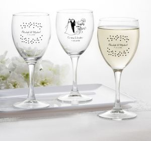 PERSONALIZED Wedding Wine Glasses (Printed Glass) (White, Happily Ever After)