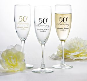 PERSONALIZED Wedding Champagne Flutes (Printed Glass) (50th Anniversary Elegant Scroll)