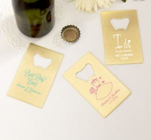 PERSONALIZED Wedding Credit Card Bottle Openers - Gold (Printed Metal) (Pink, I Do Woo Hoo)