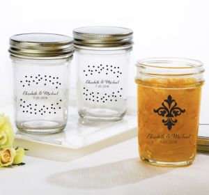 PERSONALIZED Wedding Mason Jars with Solid Lids (Printed Glass) (Black, Damask & Dots Engagement)