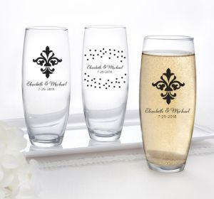 PERSONALIZED Wedding Stemless Champagne Flutes (Printed Glass) (Black, Damask & Dots)