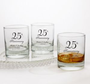 PERSONALIZED Wedding Rocks Glasses (Printed Glass) (25th Anniversary Elegant Scroll)