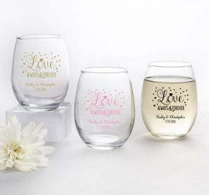 PERSONALIZED Wedding Stemless Wine Glasses 9oz (Printed Glass) (Pink, Sparkling Pink Wedding)