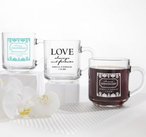 PERSONALIZED Wedding Glass Coffee Mugs (Printed Glass) (Robin's Egg Blue, Always & Forever Damask)